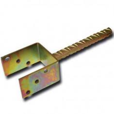 Suport stalp tip U fixare in beton, cu tija, Strend Pro MA2759, 100 mm, Zn Mania Tools
