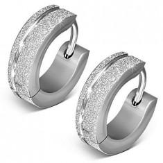 Cercei verigă, argintii, din oțel, suprafață mată, sclipitoare,adâncitură