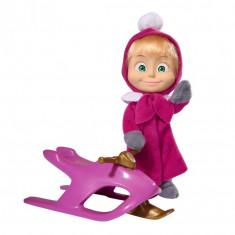 Papusa Masha cu Snowmobil - Masha si Ursul, 12 cm