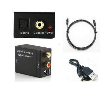 Adaptor audio digital - analog, intrare optica, iesire RCA, cablu optic inclus foto