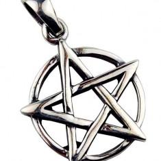 Pandantiv argint pentagramă pe cerc