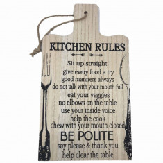 Tablou motivational tocator KITCHEN RULES 35 x 20 cm
