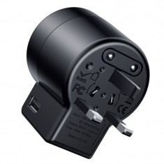 Adaptor priza Baseus, Rotation Type Travel EU/UK/USA, 2 x USB, Negru
