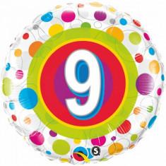 Balon aniversar 9 ani din folie cu buline 43cm