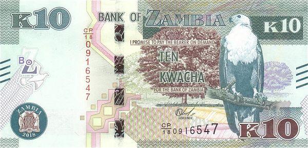 ZAMBIA █ bancnota █ 10 Kwacha █ 2018 █ P-58 █ UNC █ necirculata
