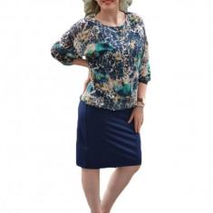 Rochie rafinata, bleumarin-crem-turcoaz lejera