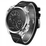 Ceas Weide,Dual Time,mecanism Japonez Epson AL35 dual,Rezistent Apa, Casual, Quartz, Inox