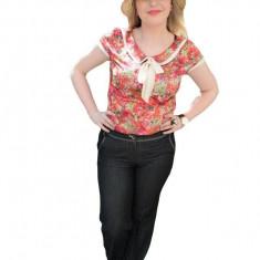 Pantalon cu insertii de cusaturi, nuanta de gri, talie joasa, fermoar