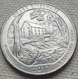 Monedă 25 cents 2017 USA, Missouri, Ozark, litera D, America de Nord