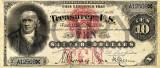 10 dolari 1878 Reproducere Bancnota USD , Dimensiune reala 1:1