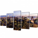 Set tablouri pânză cu vedere panoramică orizont New York, 200 x 100 cm, vidaXL