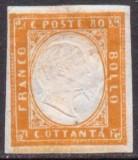 Italy Sardinia 1855 King Viktor Emanuel II, 80c orange, rift, MH AM.234, Nestampilat