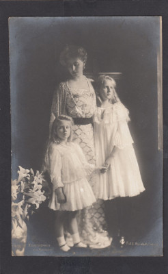 Carte Postala Regina Maria cu Printesa Ileana si Printesa Maria foto