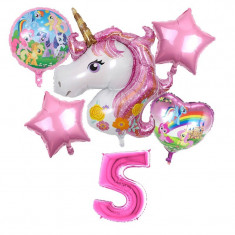 Set 6 baloane folie Unicorn magic My Little Pony cifra 5 117 x 85 cm