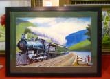 Tablou pictat manual pe panza in ulei, Tren A-421, Natura, Realism