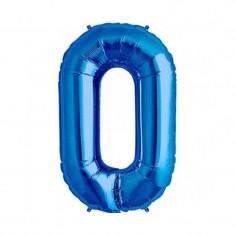 Balon folie cifra mare, albastru metalizat, 35 cm, pentru aniversari