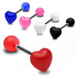 Piercing colorat pentru limbă, inimă simetrică, lucioasă - Culoare Piercing: Negru - K