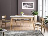 Cumpara ieftin Set masa extensibila din MDF si lemn Felicio II Alb / Stejar + 4 scaune tapitate cu stofa CD-61 Gri / Stejar, L150-190xl90xH75 cm