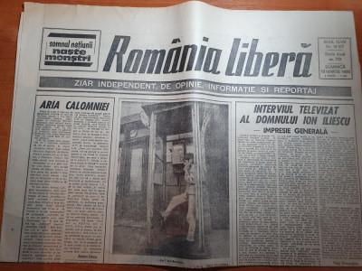 ziarul romania libera 18 martie 1990-interviul televizat al lui ion iliescu foto