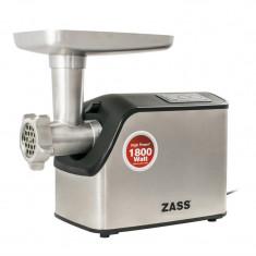 Masina de tocat Zass, 1800 W, cutit otel inoxidabil, acesoriu rosii inclus