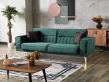Canapea extensibila tapitata cu stofa, 3 locuri Nancy Velvet Verde inchis / Auriu, l237xA88xH87 cm