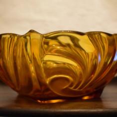 Fructiera / Centru de masa din sticla veche - Amber glass - cca. 1920