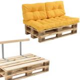 Garnitura completa mobilier paleti Model B - 2 x europalet, 1 x perna sezut, 2 x perne spate, 1 x suport spate - galben mustar