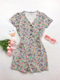 Cumpara ieftin Pijama dama scurta tip salopeta gri cu nasturi si imprimeu Unicorni si Stelute
