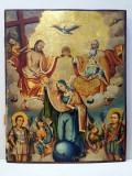 Sfanta Treime, Incoronarea Maicii Domnului,Sfantul Dimitrie si Sfantul Gheorghe, scoala romaneasca , secol 19