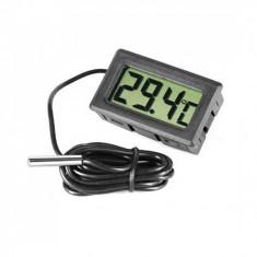 Termometru digital cu senzor pe cablu, culoare negru, lungime fir sonda 5 metri