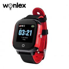 Ceas Smartwatch Pentru Copii Wonlex GW700S cu Functie Telefon, Localizare GPS, Pedometru, SOS, IP54 - Rosu-Negru, Cartela SIM Cadou