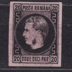 1867 - Carol I - Favoriti - 20 parale - hartie roz subtire - tip T4 - necirculat