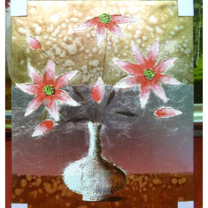 Tablou pictat manual pe panza in ulei, Vaza cu Flori A-287, Natura, Realism