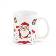 Cana ceramica cu motive de Craciun, 350 ml, design Santa Claus, Everestus, 11NP1915, alb, 2 bastonase gonflabile incluse