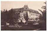 5197 - TARGU-JIU, High School, statue - old postcard, real PHOTO - unused