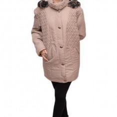 Jacheta moderna, nuanta de bej, cu aspect matlasat si nasturi