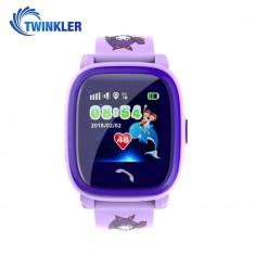 Ceas Smartwatch Pentru Copii Twinkler TKY-DF25 cu Functie Telefon, Localizare GPS, Pedometru, SOS, IP54 - Mov, Cartela SIM Cadou