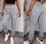 Cumpara ieftin Pantaloni dama lungi de tip jogger din bumbac gri cu elastic si buzunare