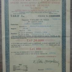 Polita asigurare populara pe viata, Asigurarea Romaneasca// 1940