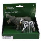 Set 2 figurine Hipopotam si Zebra National Geographic, 3 ani+