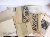 Lot 7 tipare vechi cusaturi romanesti, macrame, mari, 80x50+ cm + carte broderii