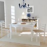 Scaune de bucătărie, 2 buc, alb, lemn masiv de hevea & catifea, vidaXL