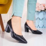 Pantofi cu toc dama negri Gisalia