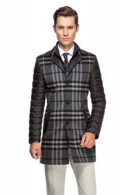 Palton barbati slim negru in carouri B118 foto