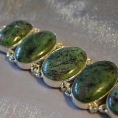 Bratara cu marcaj 925 Argint si pietre naturale Ruby Zoisite Rubin cu zoisite