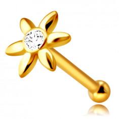 Piercing pentru nas în aur galben 14K - floare cu un zirconiu clar, petale lungi