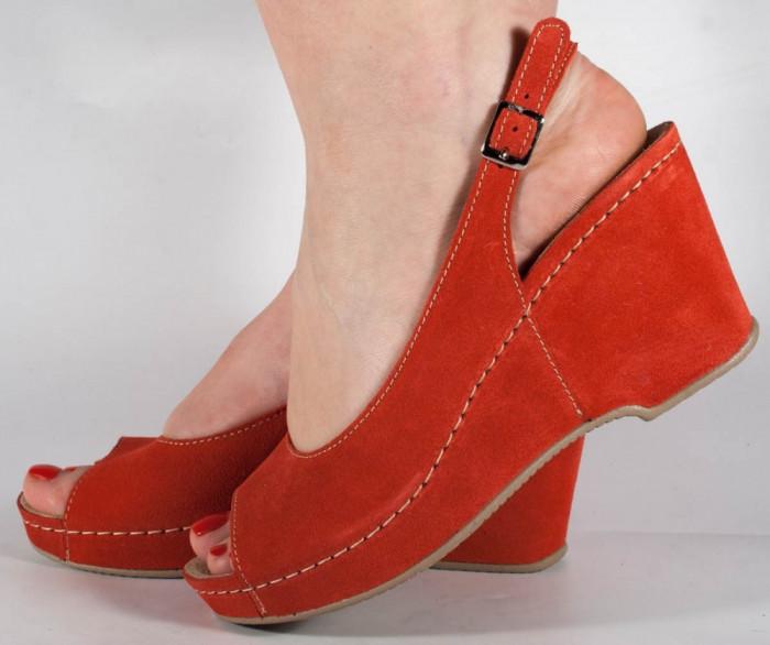 Sandale MUBB platforma rosii piele naturala (cod 505)