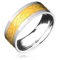 Inel din oțel - auriu-argintiu cu spirală pe valuri - Marime inel: 67