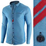 Camasa pentru barbati, albastru, slim fit, casual - Monument Pierre, L, M, S, XL, XXL, Maneca lunga
