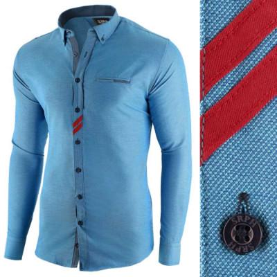 Camasa pentru barbati, albastru, slim fit, casual - Monument Pierre foto